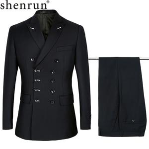 Image 1 - Shenrun 남자 정장 슬림 맞는 새로운 패션 정장 더블 브레스트 피크 옷깃 네이비 블루 블랙 웨딩 신랑 파티 댄스 파티 스키니 의상