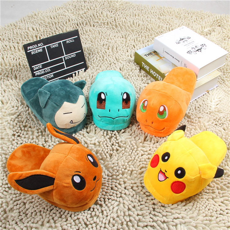 Anime Pokemon Cosplay Shoes For Women Fur Flats Winter Home Wear Kawaii Cute Pikachu Squirtle Slippers Girls Cartoon Slippers