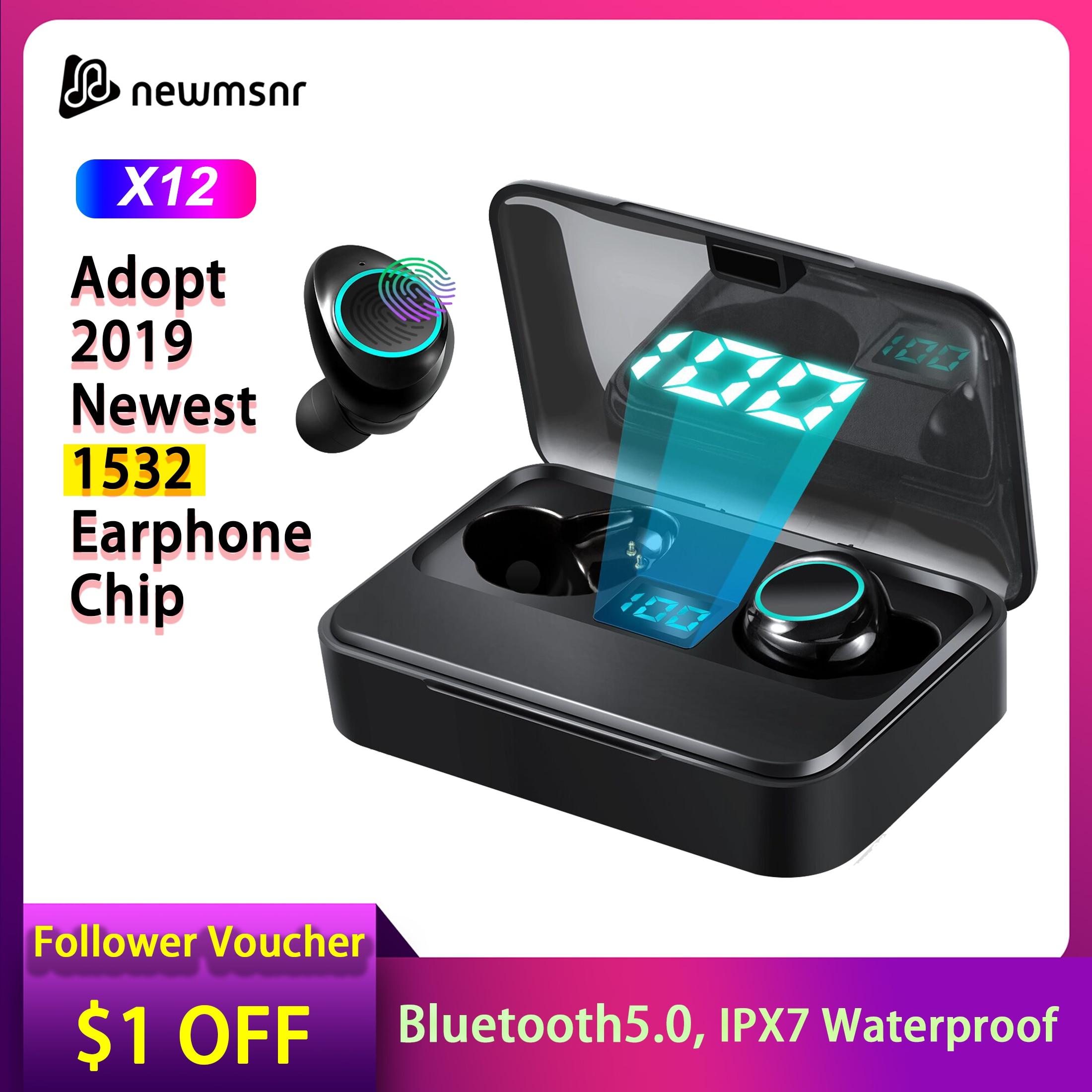 2019 X12 TWS 5.0 Bluetooth Earphone 9D Stereo Wireless Earpiece IPX7 Waterproof 3500mAh LED For Xiaomi Huawei IPhone Samsung