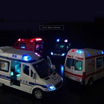 Prawdziwe 132 ze stopu pogotowia samochód policecar oświetlenie do zastosowań muzycznych samochód z napędem pull back chłopiec kolekcja zabawek model prezent dla dzieci dać 3 małe lalki