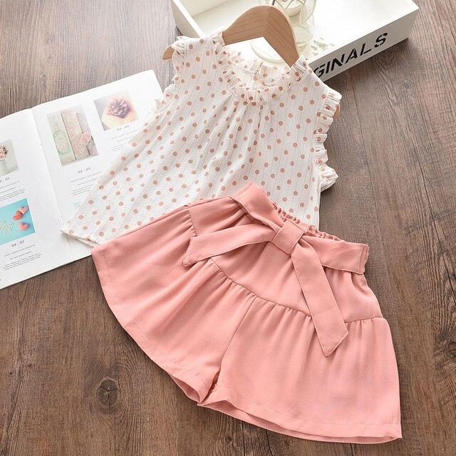 Melario Cotone Vestiti Per Ragazze Set Maglia di Estate A Due Pezzi Senza Maniche Per Bambini Insiemi Delle Ragazze di Modo Copre il Vestito Casual Dot Abiti 5