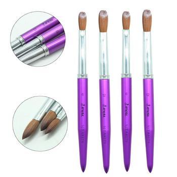 Eval 1PCS 100% Kolinsky Sable Hair Acrylic Nail Brush Professional UV GEL Liquid Powder DIY Nail Drawing Tools # 6 #12
