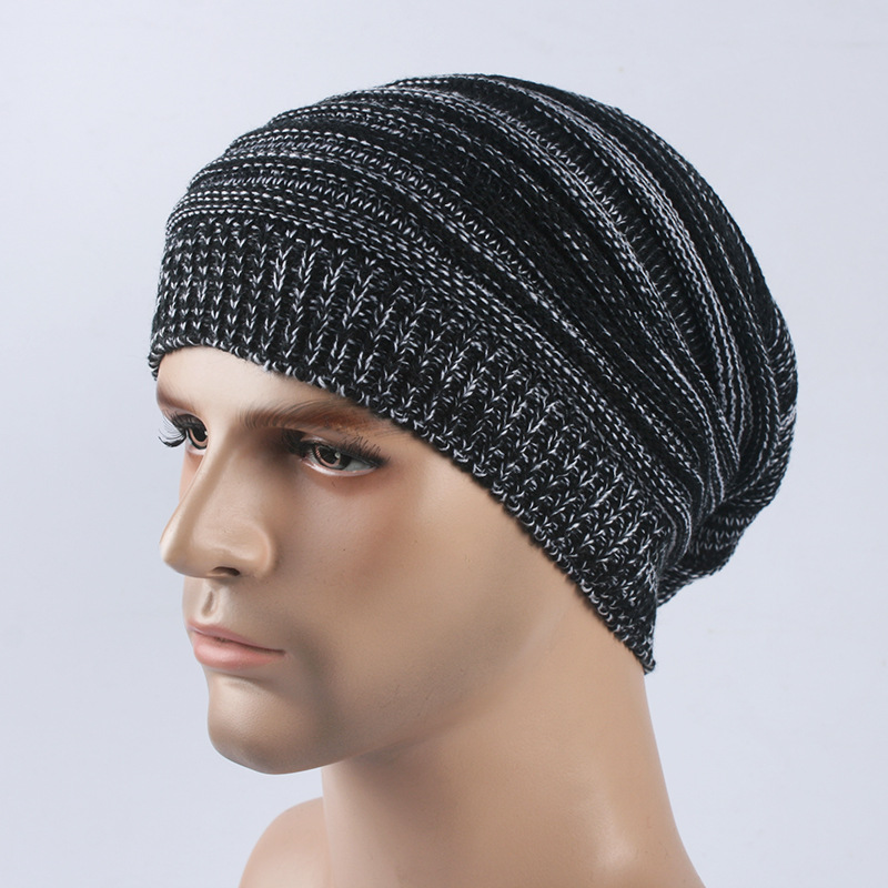 Sparsil Men Women Double Color Knitted Beanies Caps Winter Autumn Warm Cover Pile Up Skullies Hats Unisex Elastic Windproof Hat
