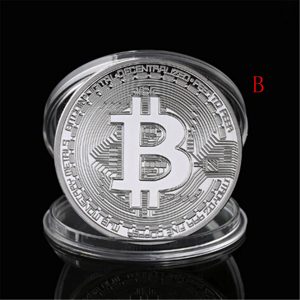 Gold Silver Plated Bitcoin Collectible BTC Coin Pirate Treasure Props Toys For Halloween Party-3