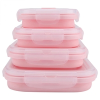 Mode 4 Stück Set Rosa Food Grade Silikon Mittagessen Box Falten Umweltfreundliche Lebensmittel Container Bento Box Faltbare Tragbare Microw-in Lunchboxen aus Heim und Garten bei