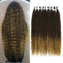 Meepo Afro Kinky Curly Hair Bundles Synthetic Hair Extensions Blonde Two Tone Color Hair