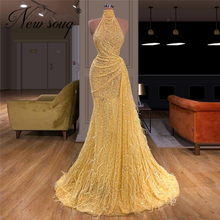노란색 구슬 긴 댄스 파티 드레스 맞춤 제작 깃털 파티 가운 두바이 2020 터키어 반짝 스팽글 아프리카 여성 이브닝 드레스