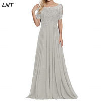 Beaded Lace Bodice Flowy Chiffon Long Mother of the Bride Dress Half Sleeves Evening Gowns