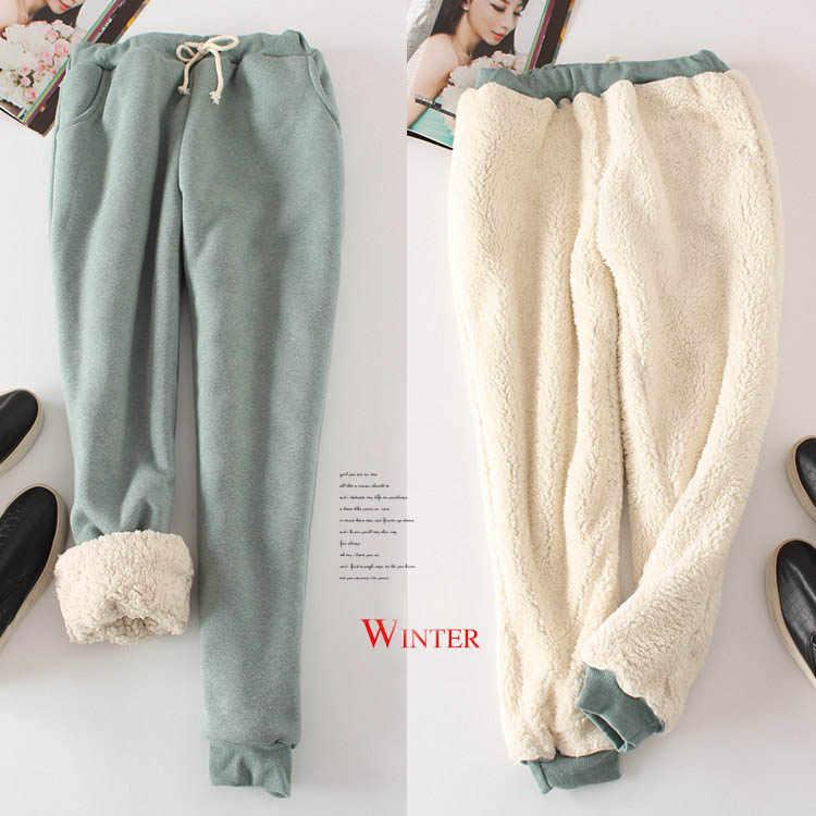 Женские брюки размера плюс 2XL зимние толстые кашемировые из овчины теплые