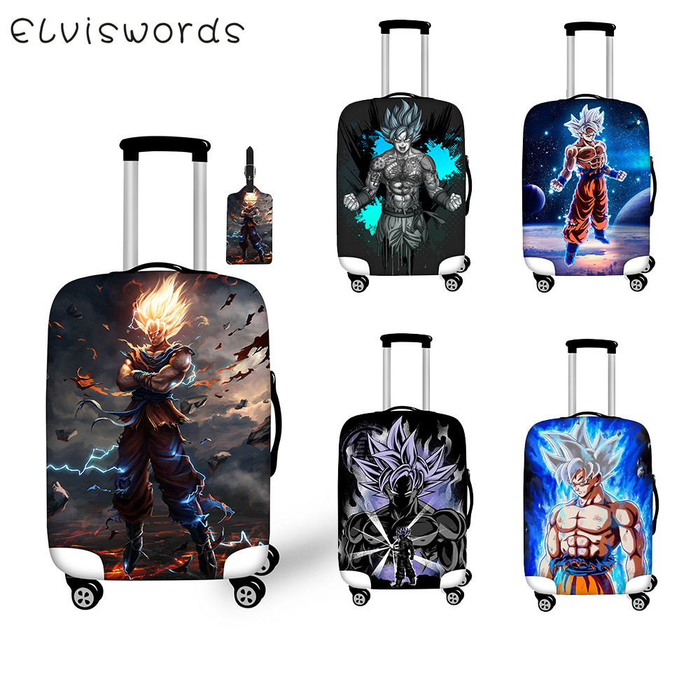 ELVISWORDS Elastic Luggage Protective Cover Cool  Dragon Ball Anime Print Thicker Strech Travel Suitcase Cover Dustproof S-XL