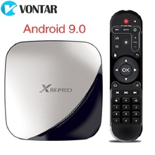 X88 PRO Android 9.0ทีวีกล่องRockchip RK3318 4GB 64GB 2.4G 5GHz Dual Wifi USB3.0 4K 60fpsชุดกล่องด้านบนGoogle Play YouTube