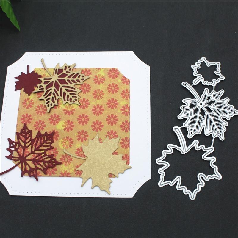 Corte de metal dados maple folha diy fazer papel cartão scrapbook moldura da foto outono queda corte molde scrapbooking selos e dados 2020
