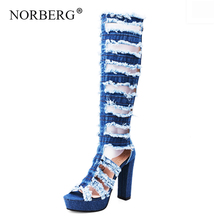 NORBERG new women sandals denim cool boots ladies high heels thick with casual shoes wild fashion style