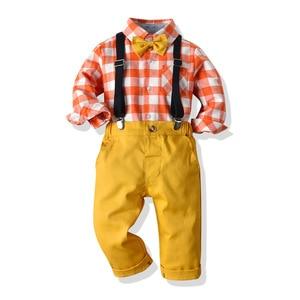 Image 2 - Pomarańczowy biały Plaid chłopiec formalne ubrania dziecko suknia ślubna z długim rękawem dla dzieci kostium dla dzieci chłopcy jesień garnitur dla niemowląt Kid odzież zestaw