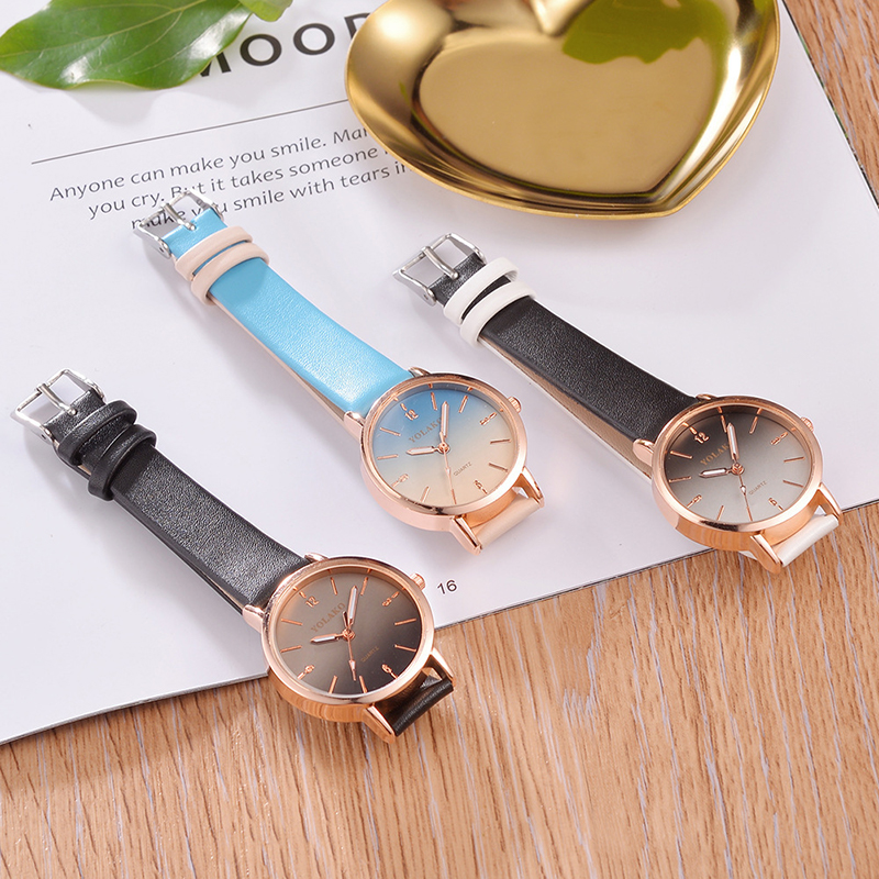 Gradient Color Couple Watch Casual Leather Belt Watches Fashion Simple Student Trend Casual Small Dial Quartz Watch Wristwatches enlarge