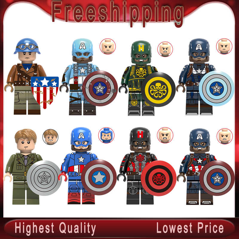 Legoly Captain America action Figure Marvel Super Hero Steve Rogers Avengers Endgame Building Blocks  children Toy gifts X0236
