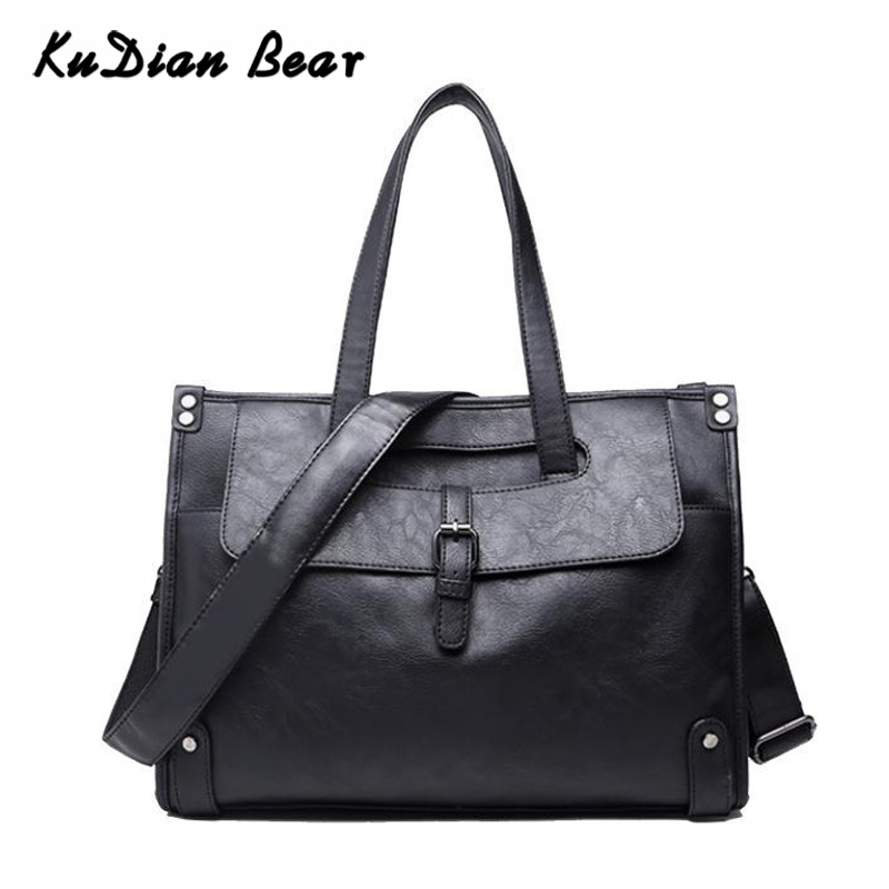 KUDIAN BEAR Business Men Briefcase Handbag PU Leather Black Big Capacity Men's Shoulder Bag Laptop Casual Bolsos BIX312 PM49