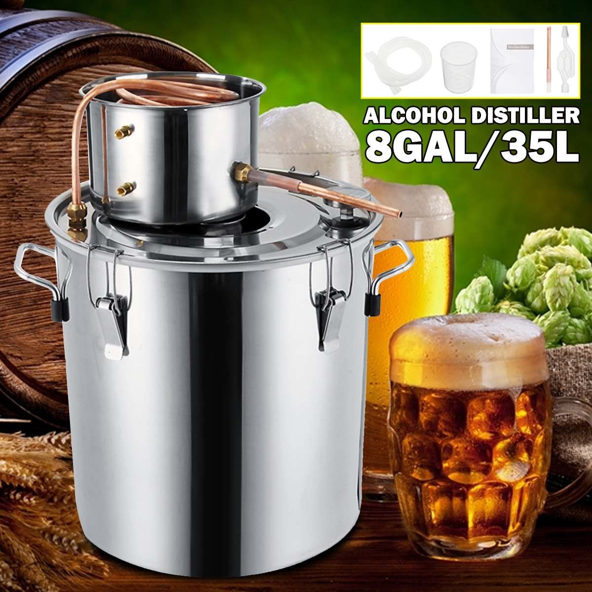 Efficient 8GAL / 35L Distiller Moonshine Alcohol Distiller Stainless Copper DIY Home Water Wine Essential Oil Brewing Kit