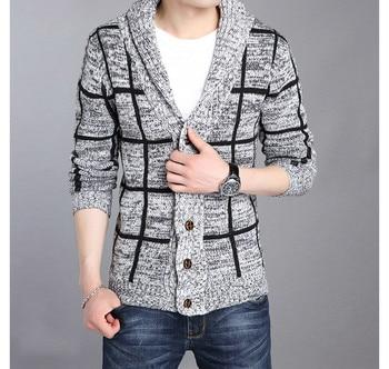 ZOGAA Winter Men Sweater Coat Striped Single-breasted Jacket Christmas Casual Turn-down Collar Knitting Male Cardigan Sweaters цена 2017