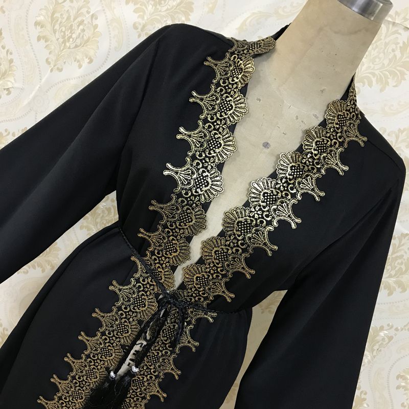 Factory direct F812 Muslim women embroidered collage hot gold cardigan Abaya gown dress dubai Turkey hot sales