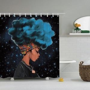 Image 2 - Dafield cortina de ducha africana para niña, cortina de ducha Afro de pelo azul, cortina de baño africana