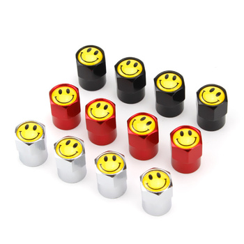 KUKAKEY Car Wheel Tire Valve Caps For BMW 520 525 F10 F18 118i Leakproof Cap Smile Print Alloy Moto Bicycle Tyre Valve Dust Caps image