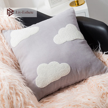 Liv-Esthete Cute Cloud Gray Decorative Cushion Covers Embroidery Square Pillow Cover For Sofa Bed Car Home 45x45cm