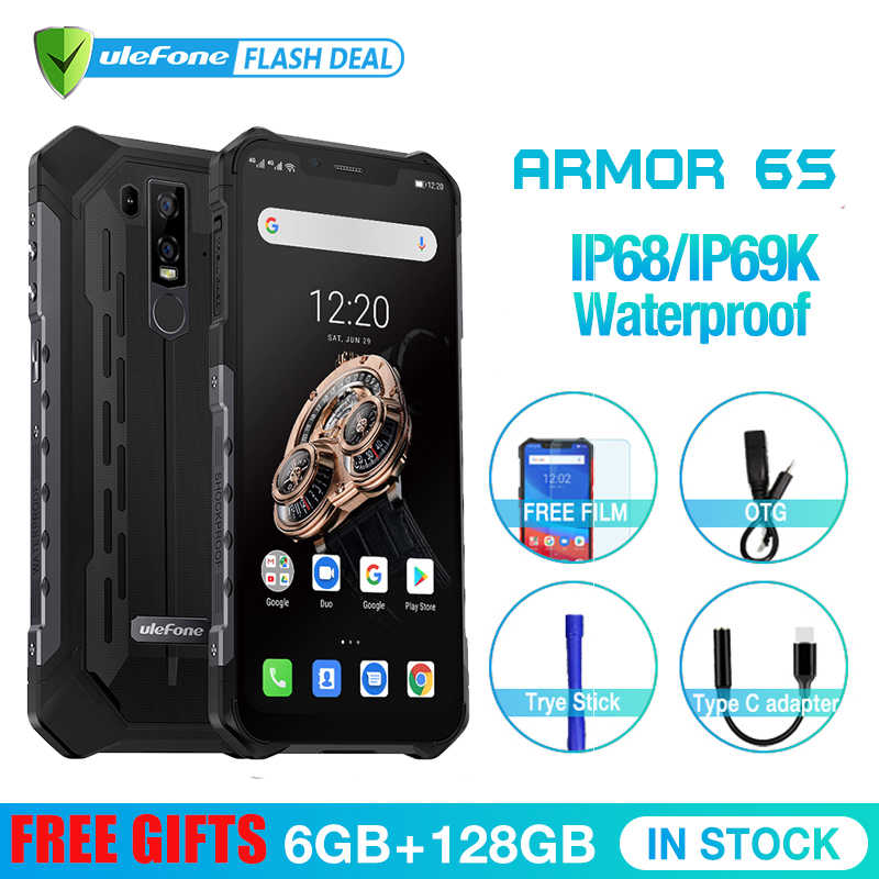 Upgrade Ulefone Armor 6S  IP68 NFC Rugged Mobile Phone Helio P70 Otca-core Android 9.0 6GB 128GB wireless charge Smartphone