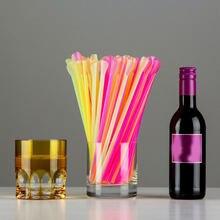 50pcs en plastique pailles à boire cuillère coloré jetable thé outils paille écologique lavable barre accessoire cuisine fournitures