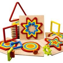 3D пазл ручной graping игрушки геометрический Форма доска Форма и Цвет Монтессори Игрушки для раннего образовательная деревянная головоломка п...