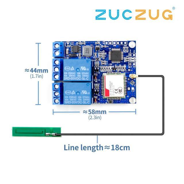 2 Modulo di Relè canale SMS di GSM di Controllo Remoto Interruttore SIM800C STM32F103C8T6 per la Serra di Ossigeno Pompa