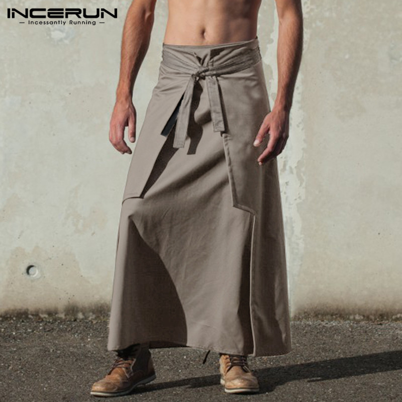 INCERUN Vintage Mens Kilts Martial Arts Style Samurai Pants  Kilt Kendo Skirts Trousers Solid Color Men Long Skirts 2019