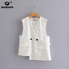 ROHOPO Women Asymmetric Sleeveless White Black Jacket V Collar Office Lady Autumn Pockets Solid Outwear #A190715