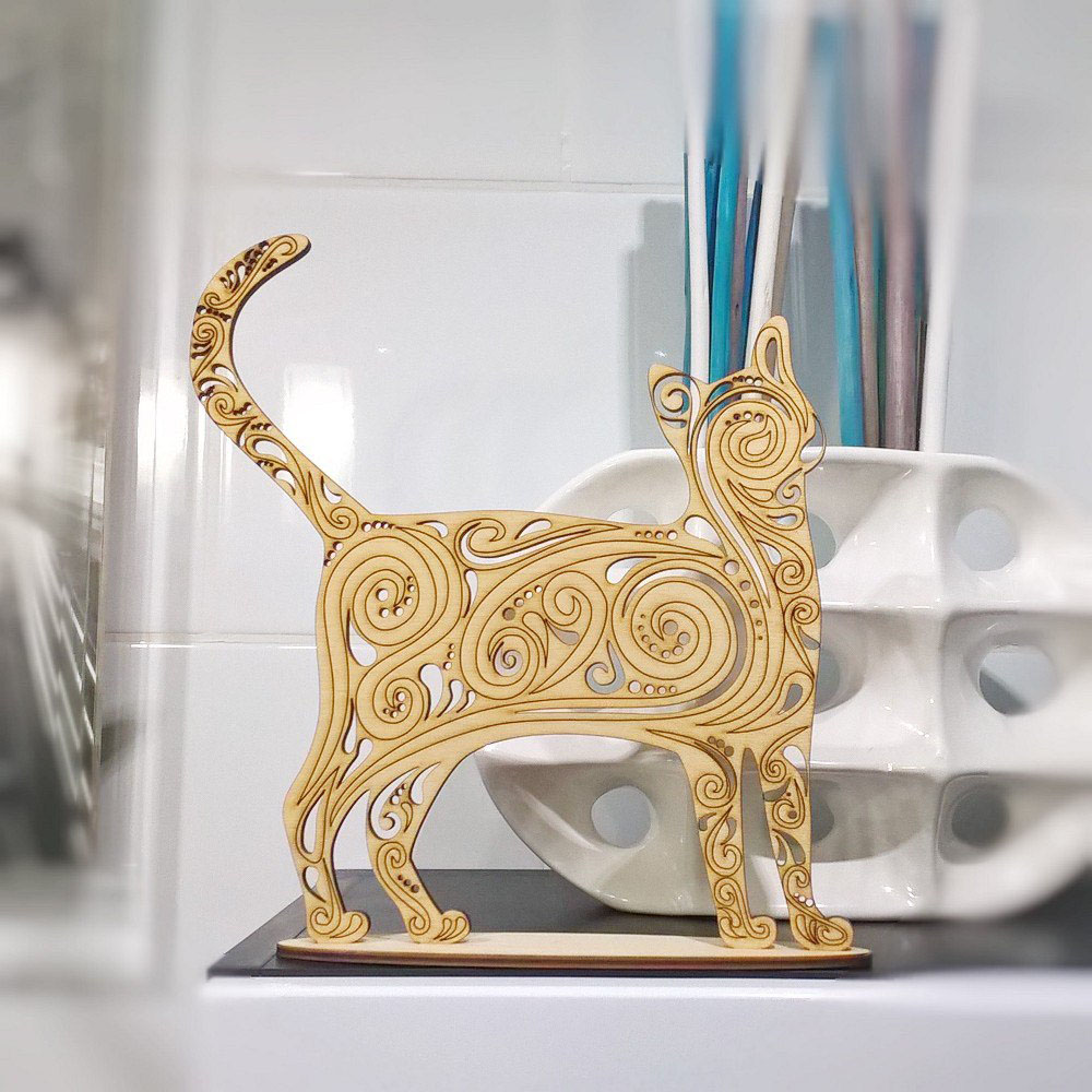 Hollow Cat Pussy Vector Design Drawing Files For Wood CNC Laser Cutting File