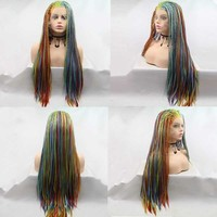 Sylvia Mixed Color Rainbow Wig Synthetic Braid Lace Front Wigs For Women Hair Premium Braid Wig Heat Resistant Fiber Cosplay