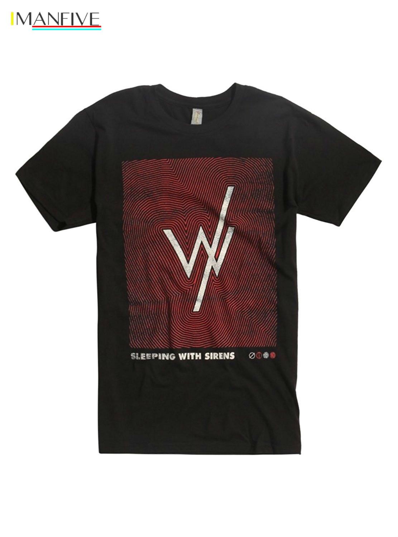 Men T shirt Sleeping With Sirens Fingerprint cotton Short Sleeve Black Funny  funny t-shirt novelty tshirt