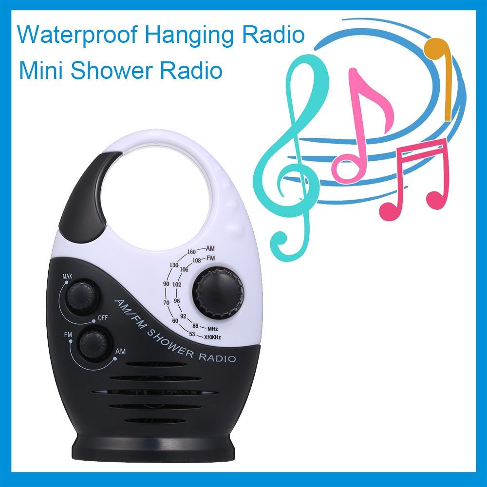 Could Support Insert Card Waterproof Shower Radio Wireless Shower Radio with Handle Adjustable Volume Splash Proof AM//FM Radio with Integrated Speaker