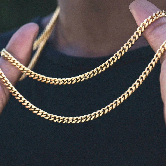 Vnox Basic Punk Stainless Steel Necklace for Men Women Curb Cuban Link Chain Chokers Vintage Black Gold Tone Solid Metal 2