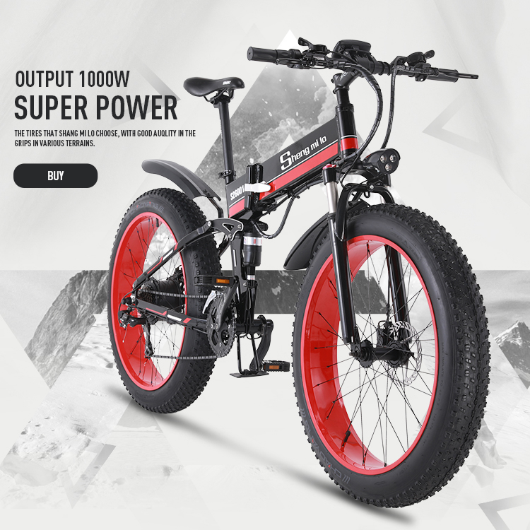 1000W aluminium alloy 4.0 fat tire 26 inch folding road cross-country electric bicycle power snowfield  built-in lithium battery