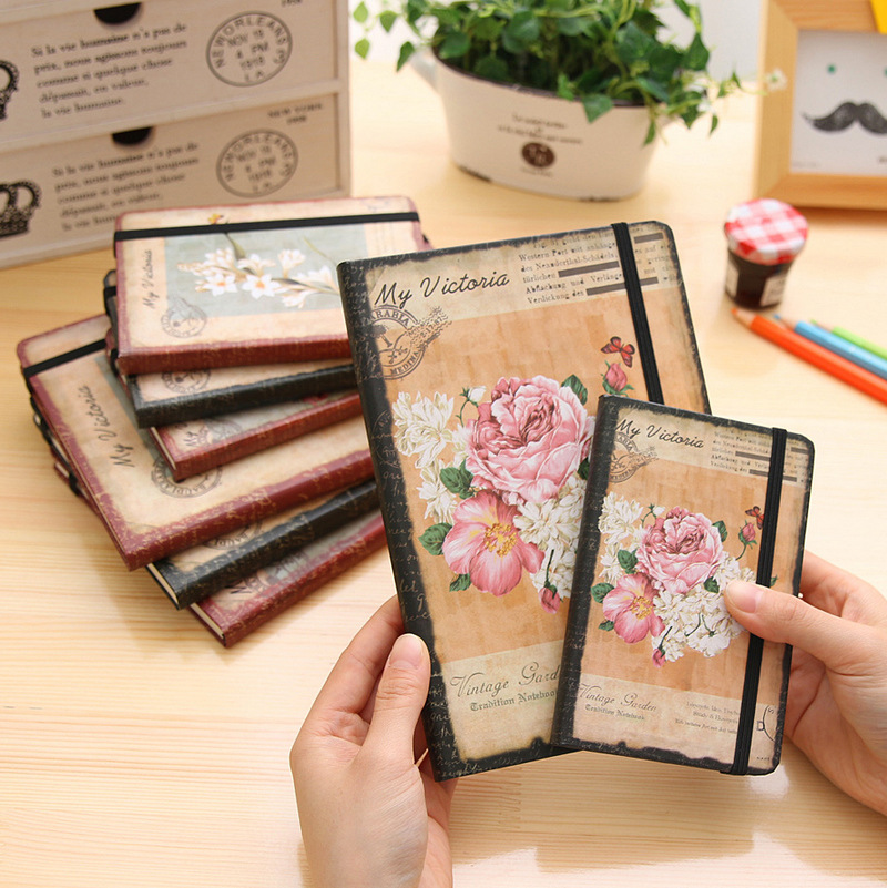 A6 Vintage Flowers Notepad Filofax School Small Notebook Bullet Journal Diary Note Book Stationery Cute Kawaii Mini Student