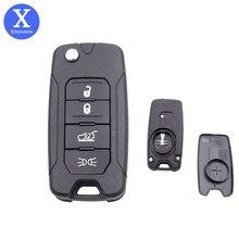 Xinyuexin 4 botões virar chave remoto fob caso escudo para jeep renegado 4 botão do carro chave do escudo substituição 2015-2018 ano