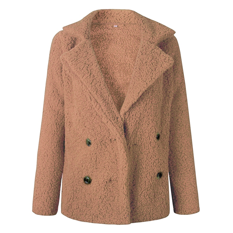 Women's  Plush Jacket Autumn And Winter Fashion New  Button Lapels Pocket Solid Color Temperament Cotton Jacket Lady Coat