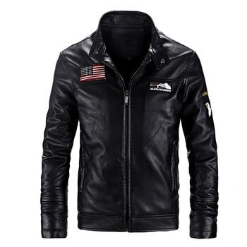 Military Jackets Men Thick Warm Winter Jacket Men Bomber Jacket PU Motorcycle Leather Coats Size 5XL Clothes Windbreaker BLACK