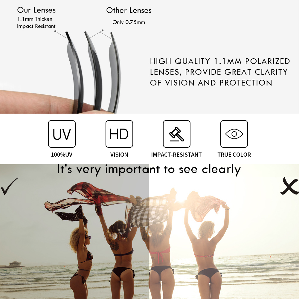 Image 3 - 2019 New Men Polarized Sunglasses 1.1mm Thicken Lens Fashion Brand Outdoor Sunglasses for Men Elastic Rubber Paint Smooth Frame-in Men's Sunglasses from Apparel Accessories on AliExpress