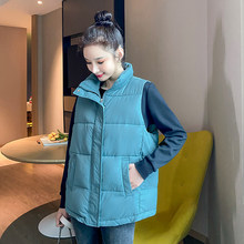 2020 Women's Winter Long Vests Solid Plus Size Casual Sleeveless Jacket Women Turn Down Collar Covered Button Thicken Outwear(China)