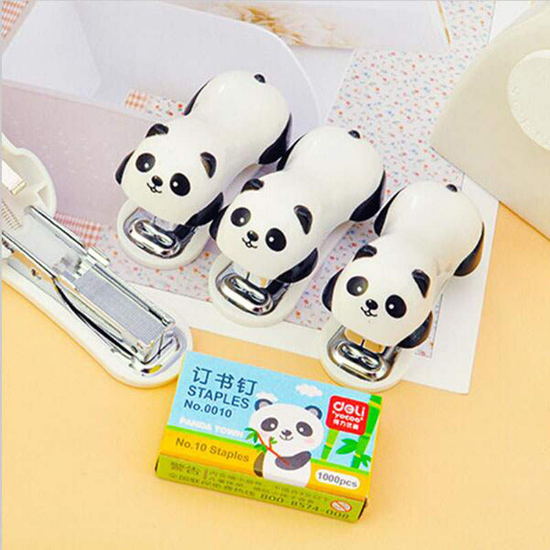 New Package 1pc Mini Stapler Set Cartoon Panda Child Learning Stationery School Office Supplies Paper Clip Holder