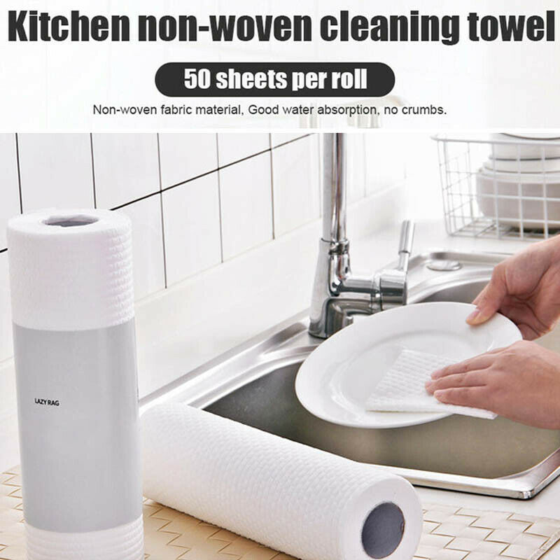 1 Roll Reusable Washable Non-woven Bamboo Kitchen Dish Cloth Washing Clean Towel