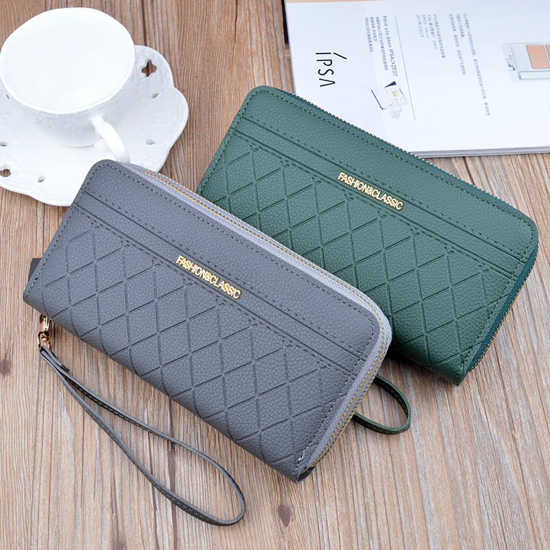 RIEZMAN Wristband Double Zipper Women Long Wallet Large Capacity Wallets Female Coin Purses Card Holder Ladies Clutch Money Bag