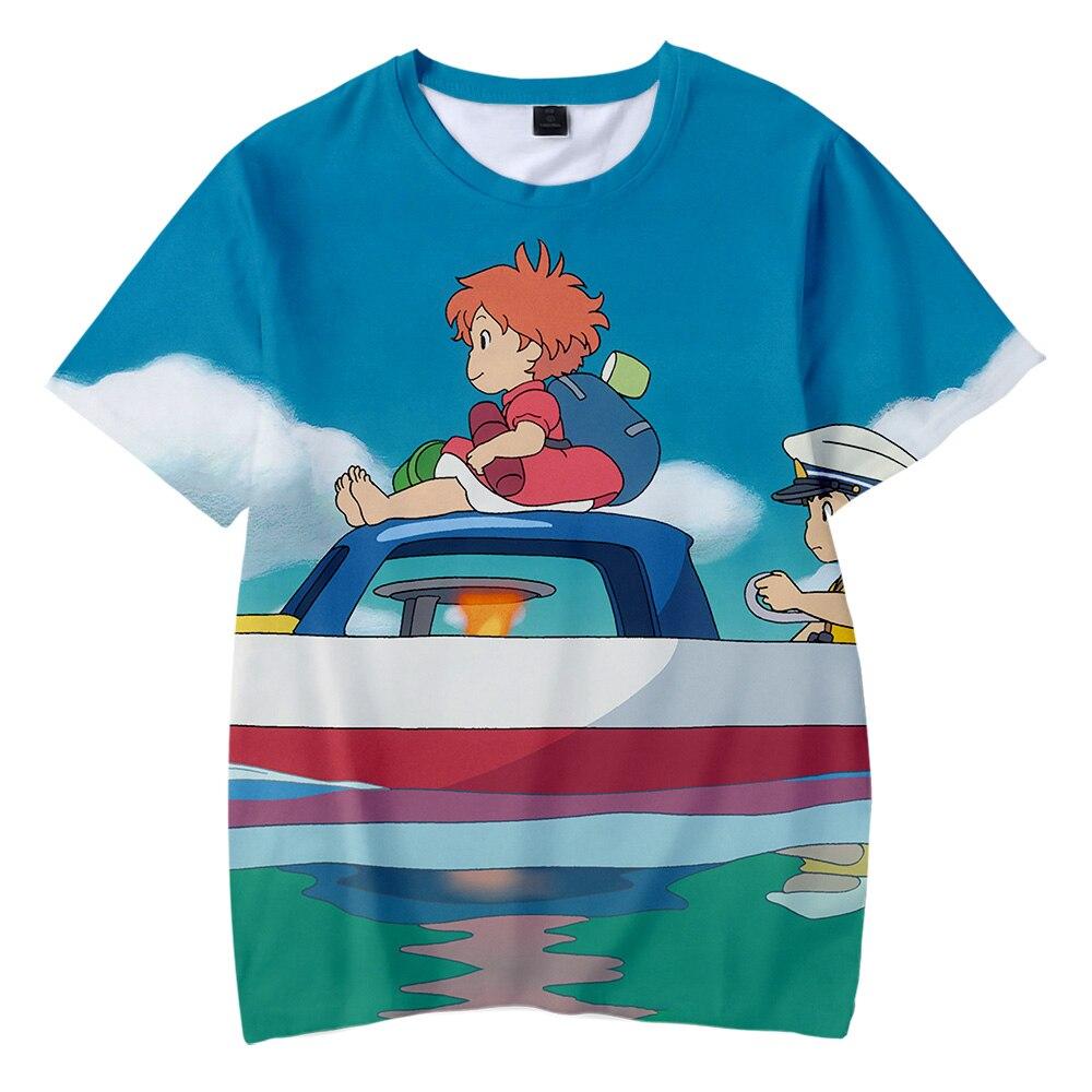 Impression populaire Kawaii enfant T-shirt Ponyo sur la falaise enfants 3D T-shirts garçons/filles T-shirt Ponyo sur la falaise T-shirt court T-shirts