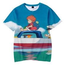 Camiseta popular do miúdo do kawaii da cópia ponyo no penhasco crianças 3d t-shirts meninos/meninas t camisa ponyo no penhasco curto t-shirts